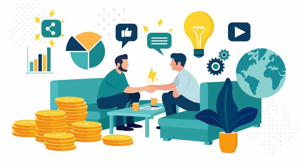 Ilustração com conceito de acordo e parceria entre pessoas com objetivo de conquistar uma meta financeira