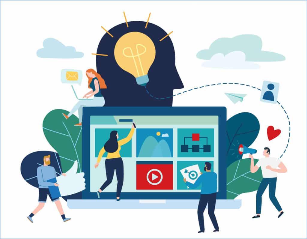 Ilustração vetorial com conceito de publicidade de mídia social e estratégias de marketing