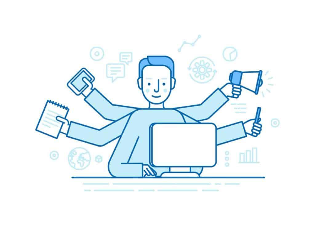 Ilustração vetorial com conceito de profissional freelancer realizando várias tarefas ao mesmo tempo