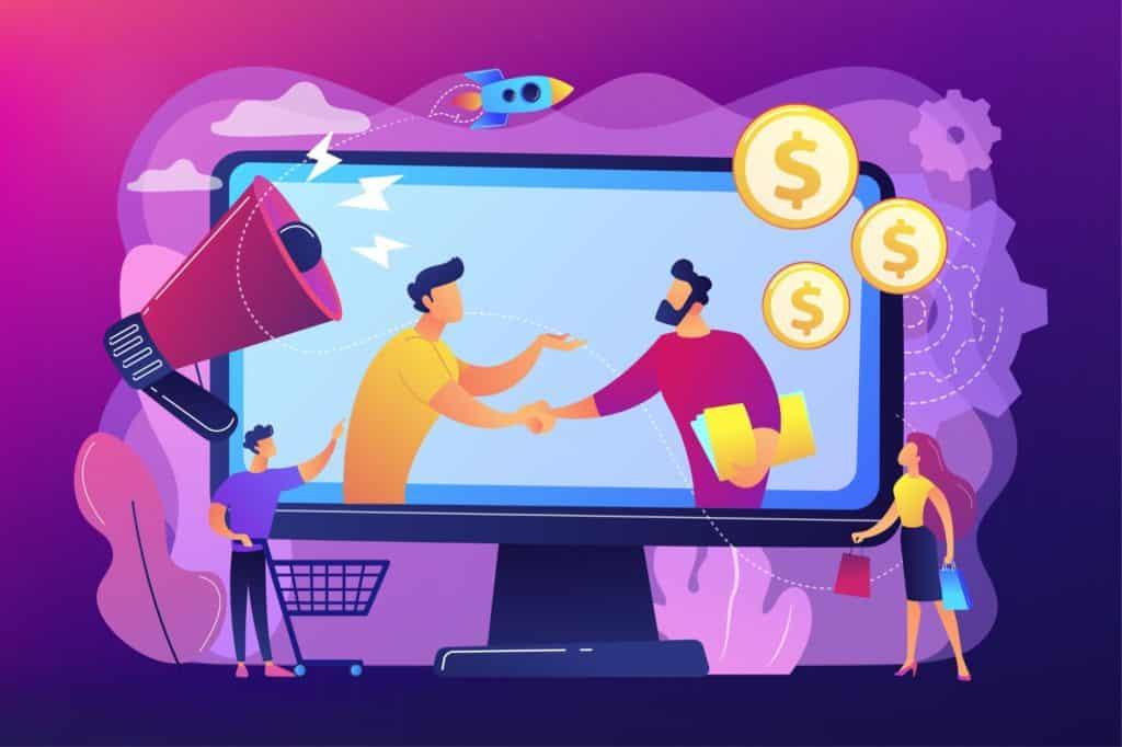 Ilustração vetorial com conceito de parceria lucrativa e marketing de afiliados