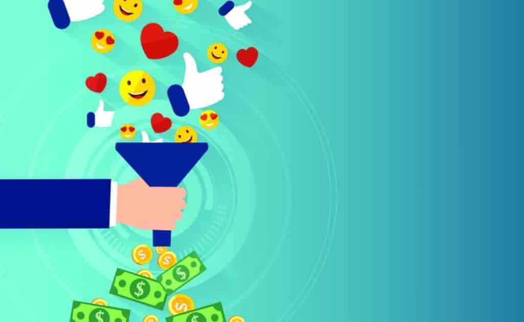 Ilustração vetorial com conceito de ganhar dinheiro através da rede social Facebook.