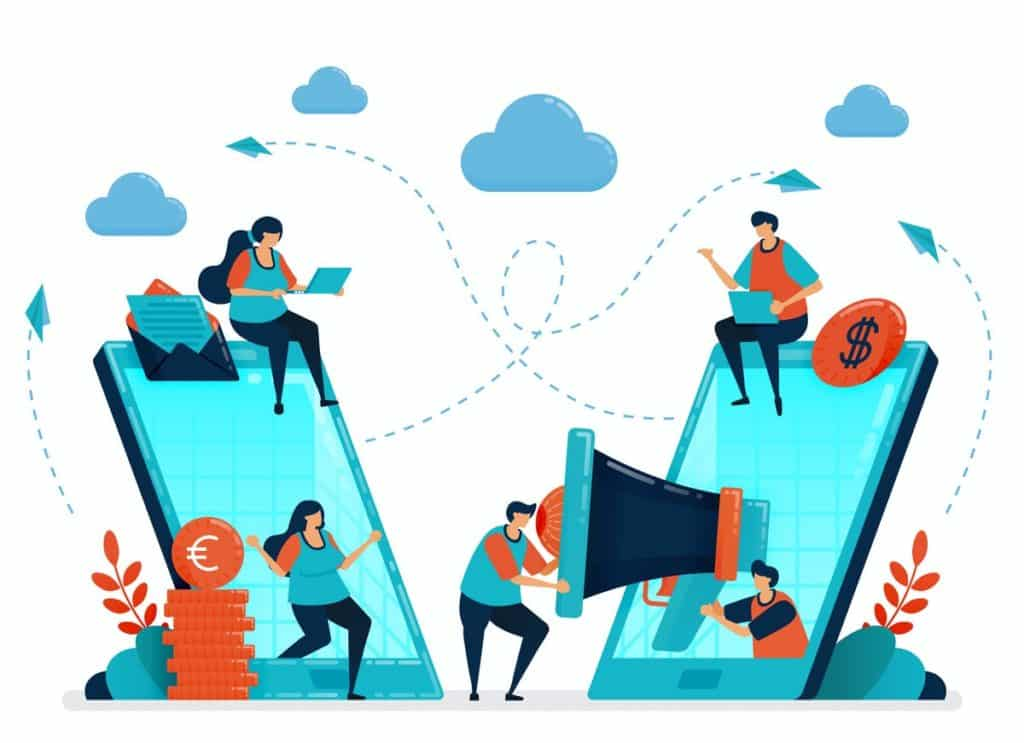 Ilustração vetorial com conceito de indicação e divulgação de vendas online
