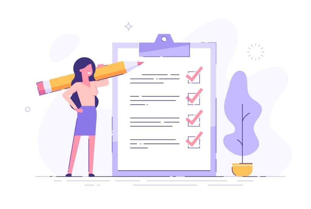 Ilustração vetorial em fundo branco com personagem feminina de negócios com uma prancheta de checklist
