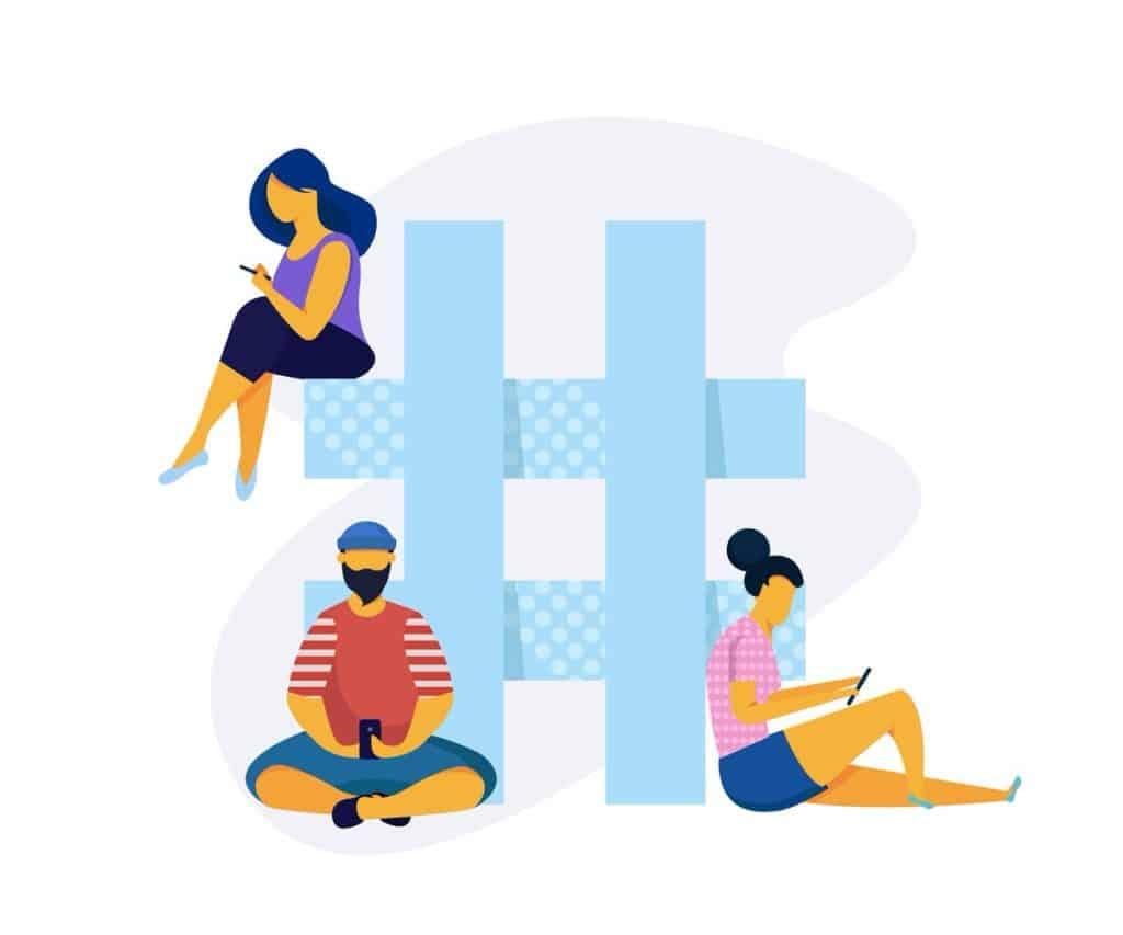Ilustração vetorial com pessoas usando smartphones sentadas em hashtag